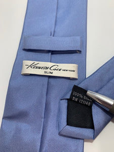Kenneth Cole Slim Solid Blue 100% silk Tie 59""