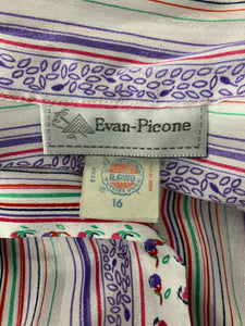 Evan Picone Vintage Long Sleeve Button Up Blouse W/ Tie Sz XL