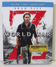 Load image into Gallery viewer, USED-World War Z Blu-ray and DVD 2-Disc Set (2013) Unrated  with slipcover