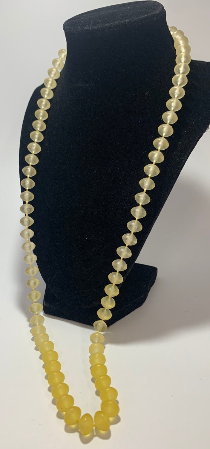 Vintage Opaque Yellow Plastic Bead Necklace 30
