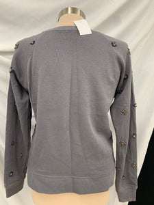 NWT Womens J. Crew Medium embellished Gray Long sleeve pullover 100% cotton top