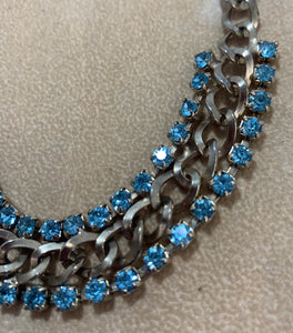 Vintage Gold Tone 2 Row Blue Rhinestone Chain Collar Style Necklace 14 1/2""