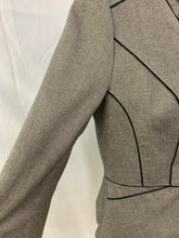 Load image into Gallery viewer, White House Black Market Size 8 V Neck Jacket Warm Gray Black Piping RufflesTrim