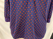 Load image into Gallery viewer, H&M Women's 3/4 Sleeve Shirt  V Neck Polka Dot size XS Navy Blue Red