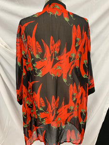 REN FIBER (XXXXL) Blouse Silk Like Semi Sheer Chili Peppers Black Red  Floral Pl