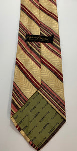 Pierre Cardin Tie, All Silk Vintage Brown and Red Stripe pattern 55""