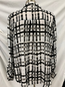 ELLE Black and White size XL Hidden Button Down Long Sleeve Semi-Sheer Blouse