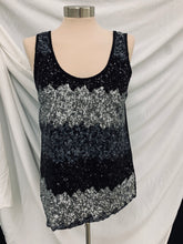 Load image into Gallery viewer, B Jewel Sequin Tank Top Silver and Black Size M