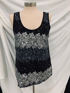B Jewel Sequin Tank Top Silver and Black Size M