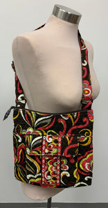 Vera Bradley Women's Black Red Yellow Shoulder Cross body Quilted Zippered Bag