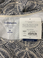 Load image into Gallery viewer, NWT Womens Croft & Barrow size 2X Navy Blue White Tan Diamond Short Sleeve Crew