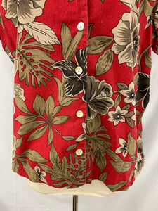 Blair Women's Short Sleeve Shirt size large Red Tan Button Down Blouse Cotton Fl