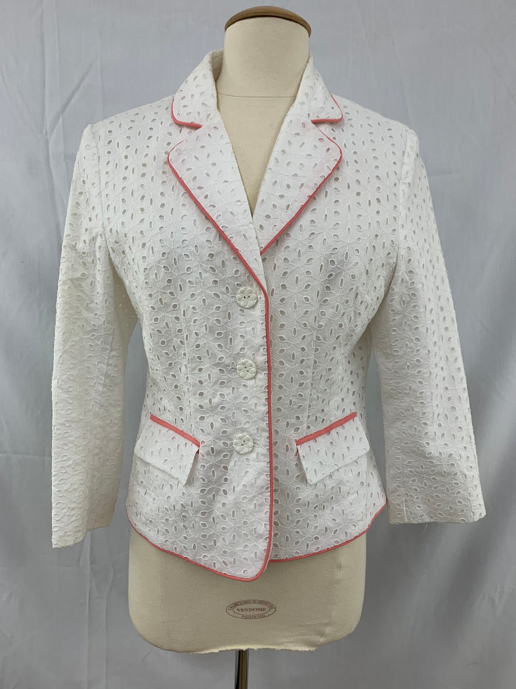 Bob Mackie Studio size 8 White Womens Jacket Pink Piping Blazer Eyelets