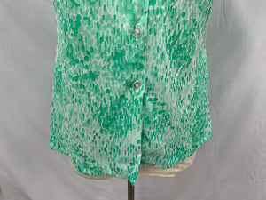 Alfred Dunner Size 14  Green Whiter Button Down Short Sleeve Shirt Semi