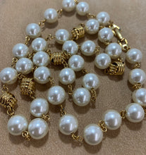 Load image into Gallery viewer, Vintage Gold Tone Knot Earrings, Bracelet & Faux Pearl Napier Necklace Set