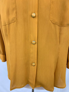 Petite Notations Brand Yellow Button Up Blouse Sz 14