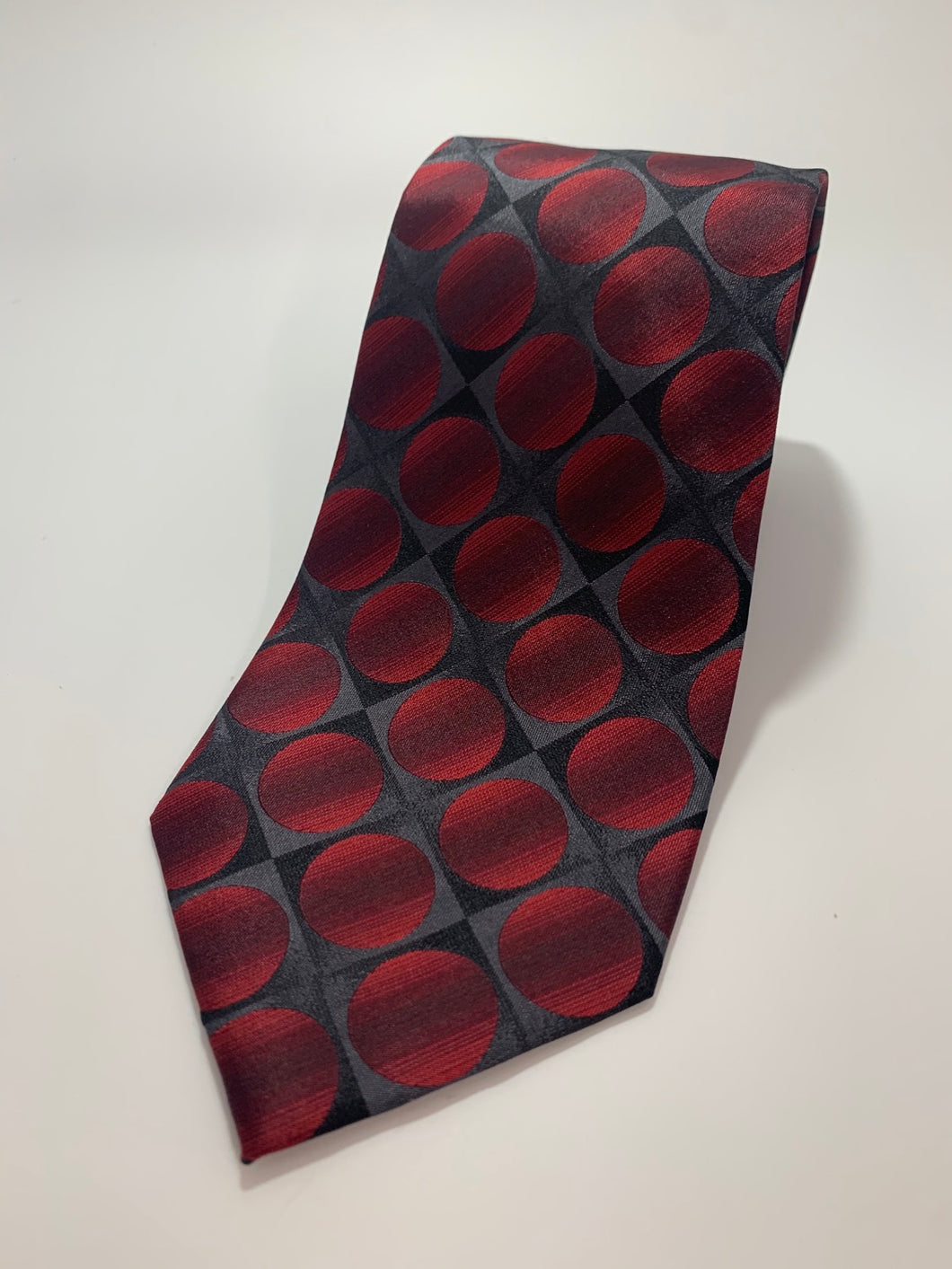 John Ashford 100% Silk Red Circle  Tie 61