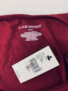 NWT Lane Bryant size 14/16 Burgundy Sleeveless Stretch Top Shirt Spring Summer