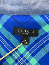 Load image into Gallery viewer, Talbots Petites Button Up Shirt Womens size SP Long Sleeve Plaid Blue Mint Green