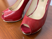 Load image into Gallery viewer, GUESS Red Leather Honora2 Heels Stilettos Gold Detail size 5.5