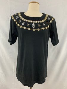 NWT ROBBIE BEE size 16P Dress Black Brown Tan Neck Ornament Short Sleeve Women's
