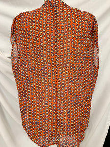 Fenn Wright Manson Deep V Neck Size M Orange Blue Sheer Sleeveless Top Blouse