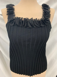 NWT Evie Black Silk & Viscose Sz. XL Ruffled Ribbed Top