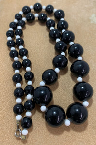 Vintage Black & White Round Plastic Bead Necklace 25""