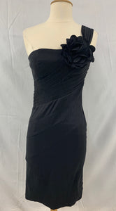 XXI Forever S/P Black Stretchy One Shoulder Dress Big Flower