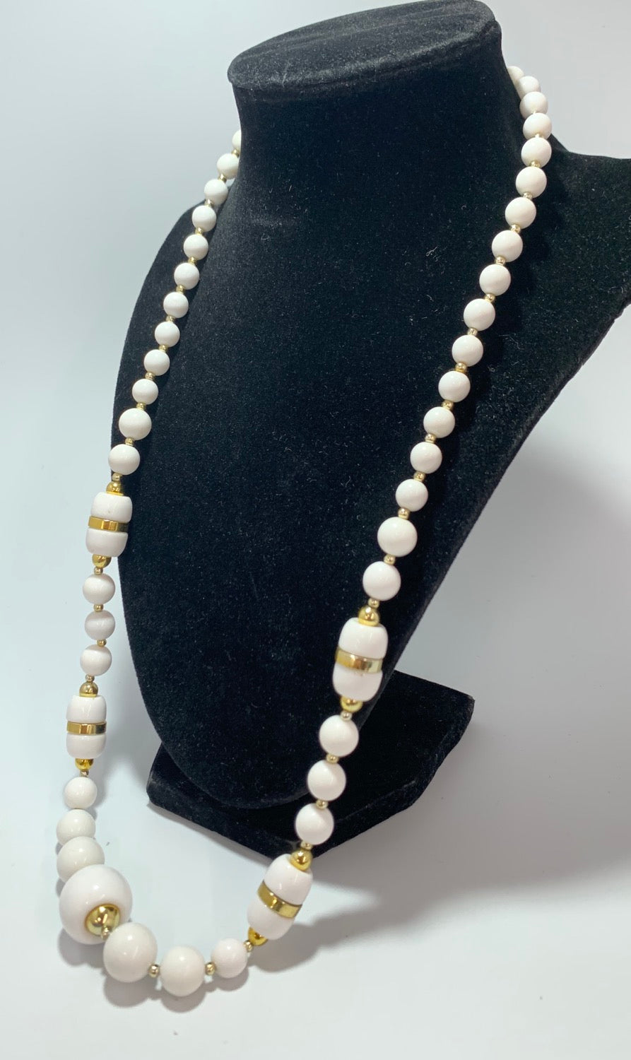Vintage White Bead Gold Spacers Necklace 27