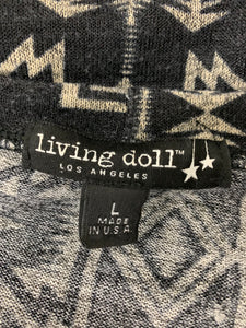 Living Doll L Long-sleeve Pullover Black Gray Top