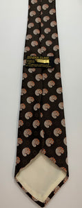 Vintage Prince Consort Brown Circular Pattern Tie with Golden Clasp Poly 52""