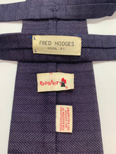 Load image into Gallery viewer, Vintage Rooster Brand Ties 2 Square End Plaid & Navy Blue 55""
