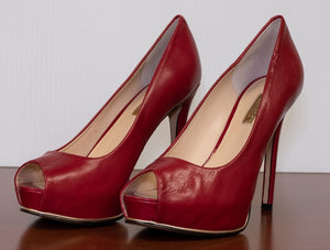 GUESS Red Leather Honora2 Heels Stilettos Gold Detail size 5.5