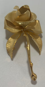 Vintage Cerrito Gold Tone Brushed Metal Rose Pin