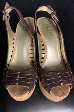 Load image into Gallery viewer, Guess by Marciano Brown Gold Studded Cork Heels size 6