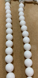 Vintage White Plastic Bead Silver Spacer 2 Accent Strands Necklace 30""