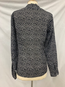 Brooks Brothers Womens size 4 Black White Long Silk Sleeve Button Up Dress Shirt