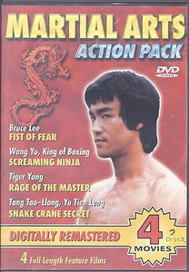 Martial Arts Action Pack (DVD, 2003), NEW, 4 Movies, Bruce Lee, Wang Yu