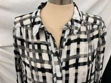 Load image into Gallery viewer, ELLE Black and White size XL Hidden Button Down Long Sleeve Semi-Sheer Blouse