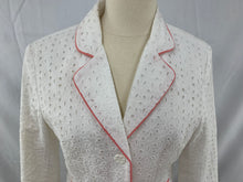 Load image into Gallery viewer, Bob Mackie Studio size 8 White Womens Jacket Pink Piping Blazer Eyelets
