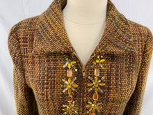 Load image into Gallery viewer, Garcia Fashion Size M Gold Brown Tan Tweed Knee Length Coat