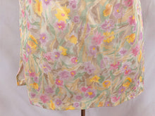 Load image into Gallery viewer, Vintage Flowery Women's Short Sleeve Yellow Purple Greens Short Sleeve Top Blous