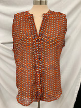 Load image into Gallery viewer, Fenn Wright Manson Deep V Neck Size M Orange Blue Sheer Sleeveless Top Blouse
