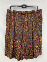 Load image into Gallery viewer, LuLaRoe sz XL Women's Dark Brown Pink Blue Madison Pleated Flair Skirt