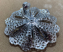 Load image into Gallery viewer, Vintage Silver Tone Lacy Flower Huge Clip on Earrings Sarah Coventry
