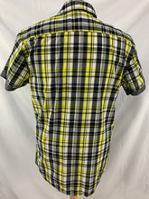 Load image into Gallery viewer, DRILL CLOTHING CO. NYC Men's Shirt Size M Black Yellow White  Button Front Short
