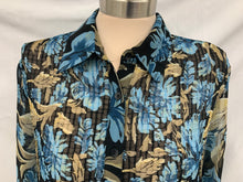 Load image into Gallery viewer, NOTATIONS Pleated  Sz XL Sheer Shirt Long Sleeve Black Blouse Blue Dark Tan Flow