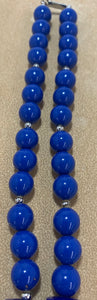 Vintage Plastic Chunky Blue Bead Silver Tone Spacer Necklace 29""