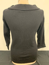 Load image into Gallery viewer, White House Black Market WHBM womens Black boat neck 3/4 sweater sz S
